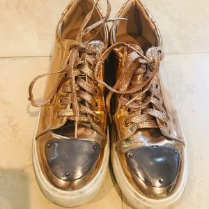 Shoes - Metallic Copper Sneakers Size 10